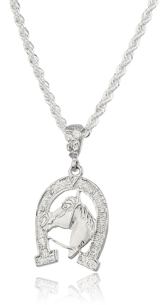Silvertone Horse Pendant With A Brass...