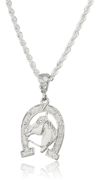 Silvertone Horse Pendant With A Brass 4mm Rope Chain Necklace (36 Inches)