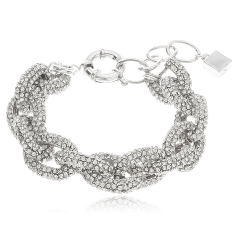 Silvertone Iced Out 16mm Cable Chain Designer Adjustable 7 Inch Bracelet With Clear Stones