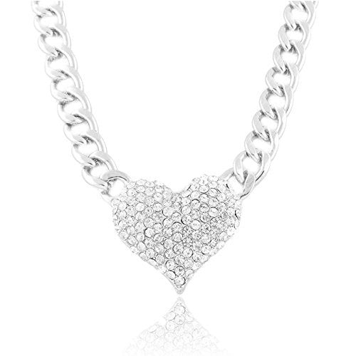 Silvertone Iced Out 3D Heart Pendant With A 16 Inch Adjustable Link Necklace