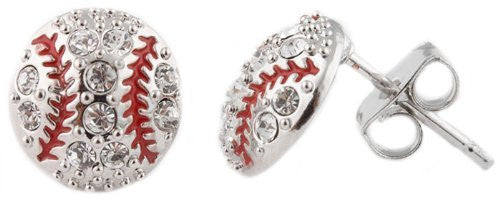 Silvertone Iced Out Baseball Stud Earrings...