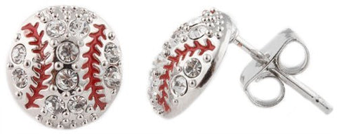 Silvertone Iced Out Baseball Stud Earrings