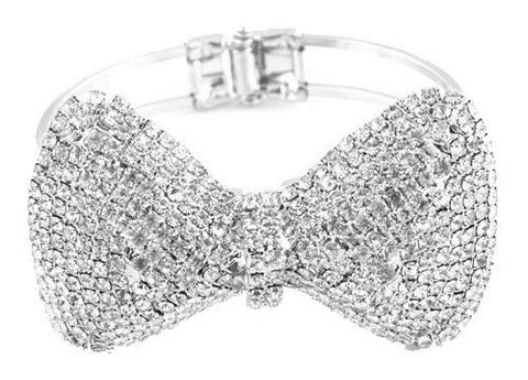 Silvertone Iced Out Bow Tie Style Bangle Bracelet