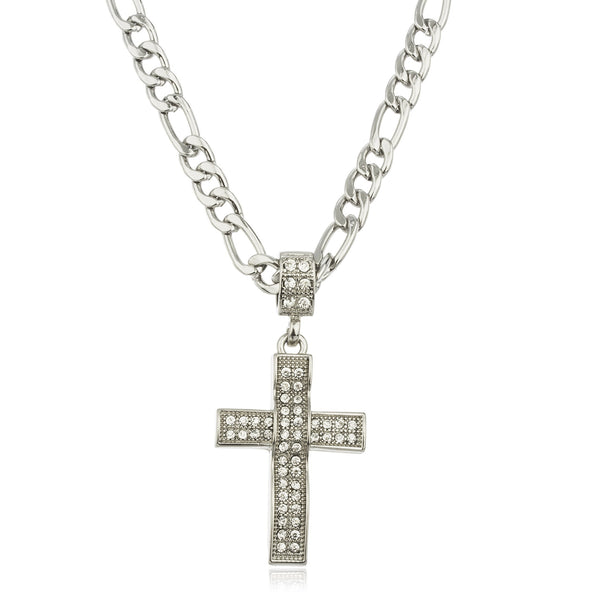 Silvertone Iced Out Cross Micro Pendant With A 24 Inch Figaro Necklace