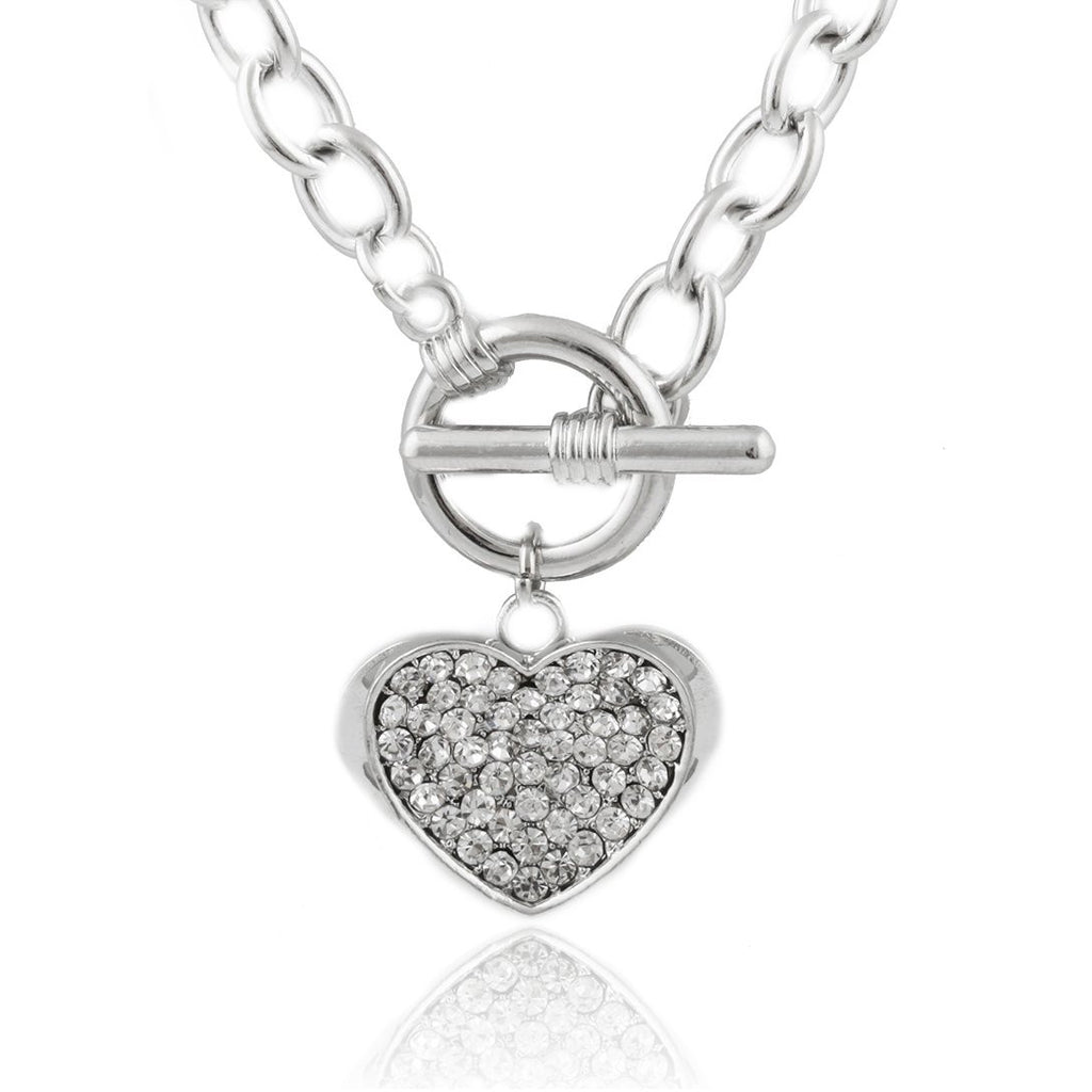 Silvertone Iced Out Embossed Heart 20...