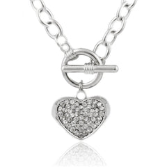 Silvertone Iced Out Embossed Heart 20 Inch Toggle Pendant Necklace