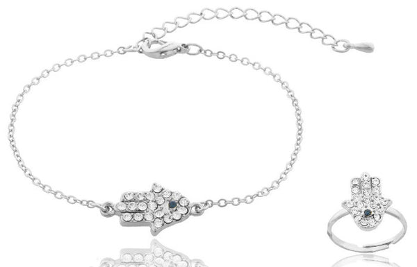 Iced Out Hamsa Charm Bracelet and Finger Ring Jewelry Set