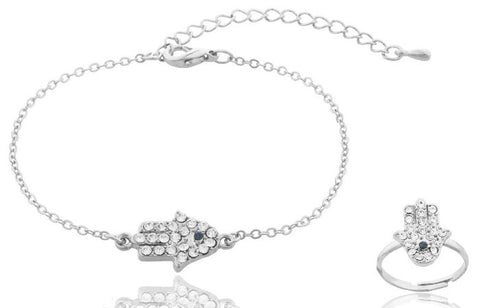 Silvertone Iced Out Hamsa Charm Bracelet And Adjustable Finger Ring Jewelry Set