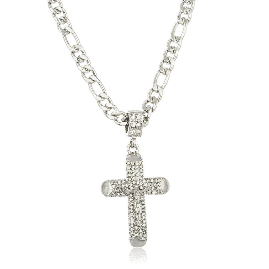 Silvertone Iced Out Jesus Cross Micro...