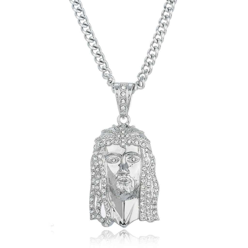 Silvertone Iced Out Jesus Face Pendant...