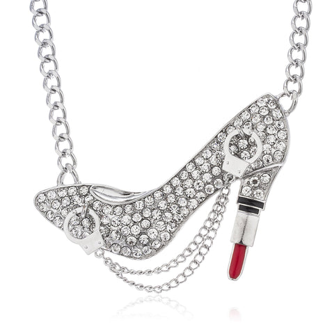 Silvertone Iced Out Pump Lipstick Heel Pendant With Dangling Handcuffs Cuban Chain Necklace
