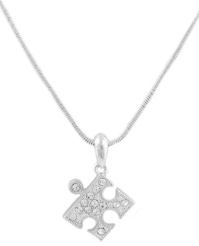 Silvertone Iced Out Puzzle Piece Pendant With An 15 Inch Snake Chain Necklace