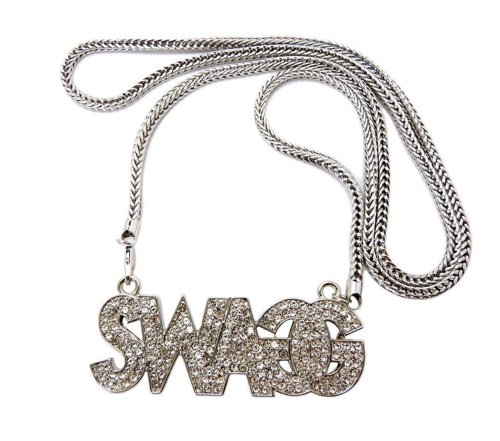 Silvertone Iced Out Swagg Pendant Necklace...