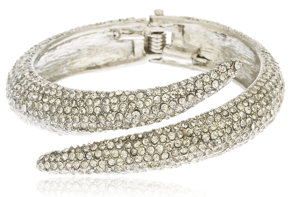 Silvertone Iced Out Swirl Hinged Bangle...