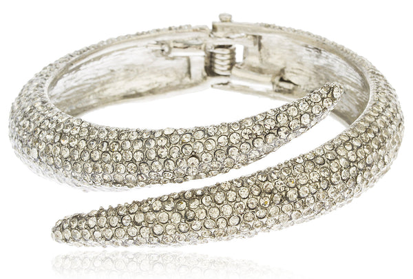 Silvertone Iced Out Swirl Hinged Bangle Bracelet With Clear Stones