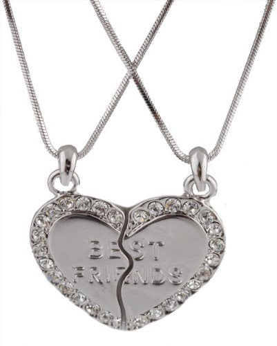 Silvertone Iced Out Two Best Friend Heart Pieces Pendant With A 16 Inch Chain Necklace