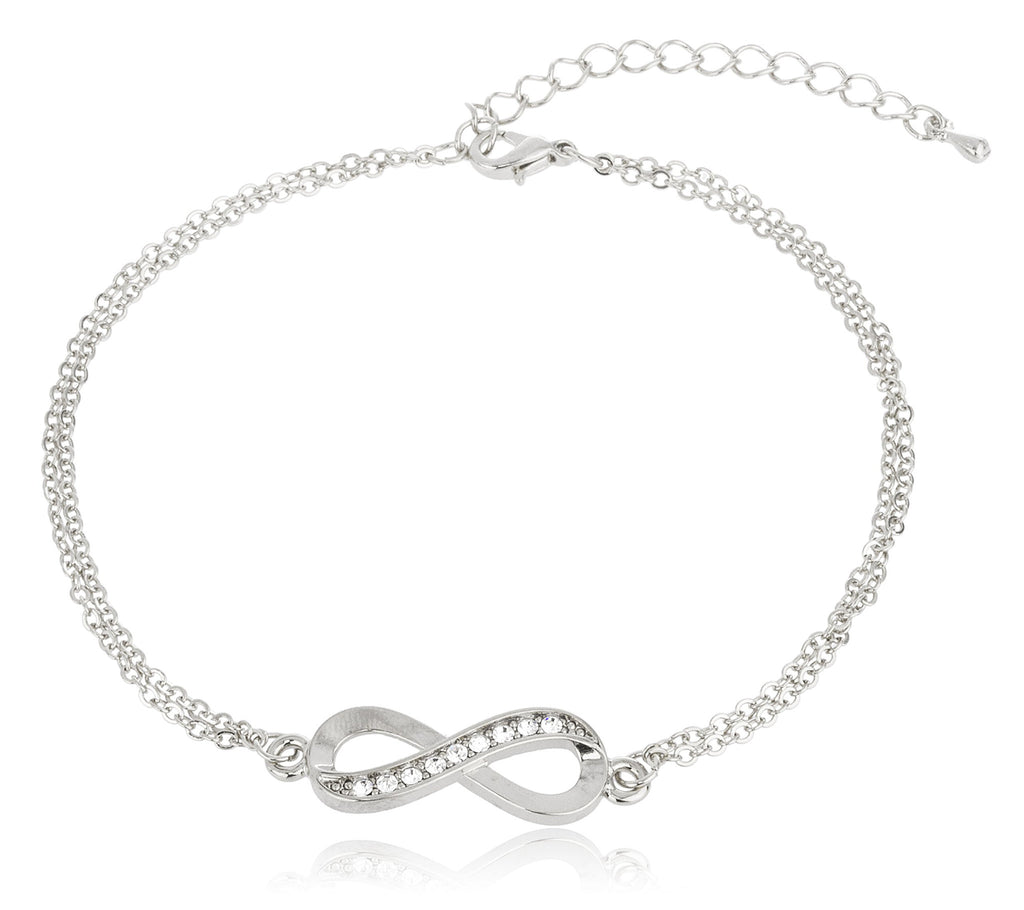 Silvertone Infinity Adjustable Charm Anklet With...