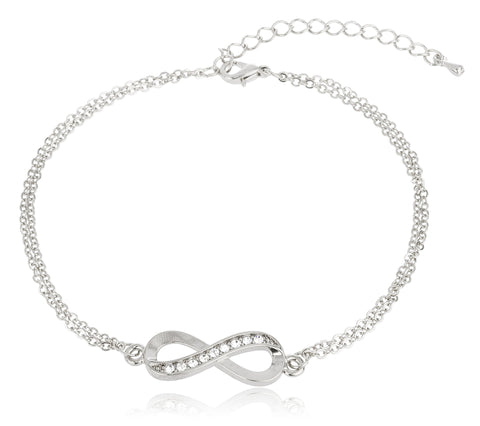 Silvertone Infinity Adjustable Charm Anklet With Stones