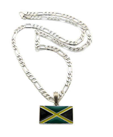 Silvertone Jamaica Flag Pendant With A 5mm 24 Inch Figaro Necklace
