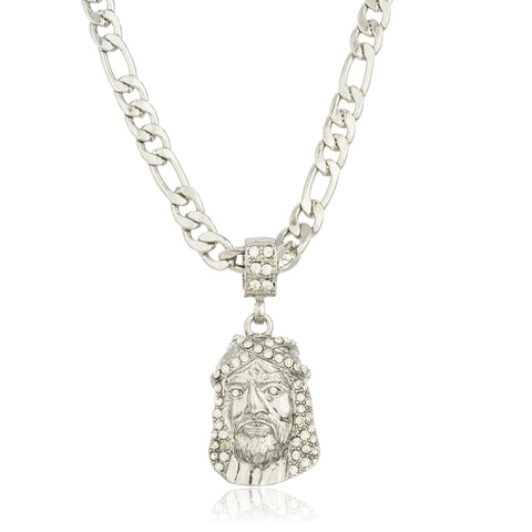 Silvertone Jesus Face Micro Pendant With Clear Stones And A 24 Inch Figaro Necklace
