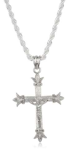 Silvertone Large 'Christ On A Cross' Pendant With A Brass 6mm Rope Chain Necklace (36 Inches)