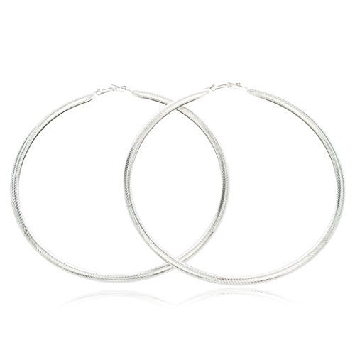 Silvertone Large Fancy Design 4.5 Inch Hoop Earrings