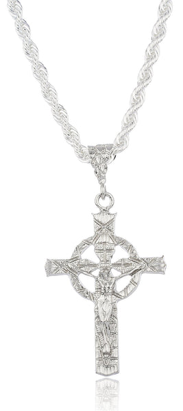 Silvertone Large Jesus Halo Pendant With A Brass 6mm Rope Chain Necklace (30 Inches)