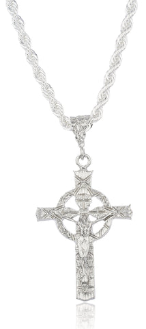 Silvertone Large Jesus Halo Pendant With A Brass 6mm Rope Chain Necklace (36 Inches)