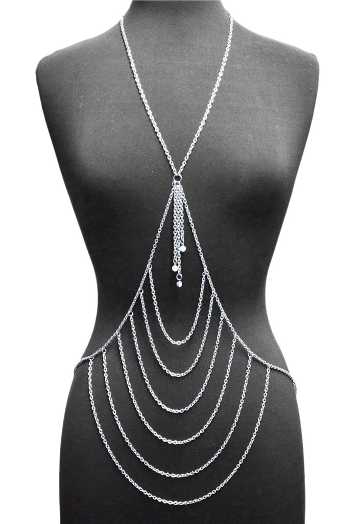 Silvertone Layered Center With Tassel Drop...