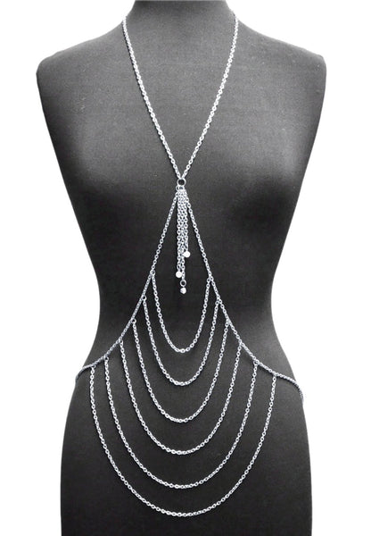 Silvertone Layered Center With Tassel Drop Body Chain