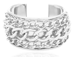 Silvertone Layered Chain Design Cuff Bangle Bracelet