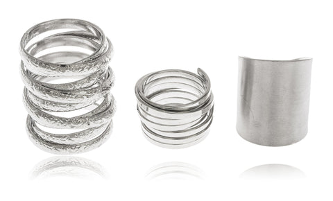 Silvertone Layered Three Finger Ring Sizes 5, 7, 9