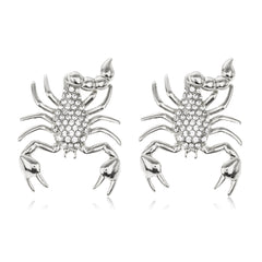 Silvertone Lobster With Clear Stones Drop Earrings