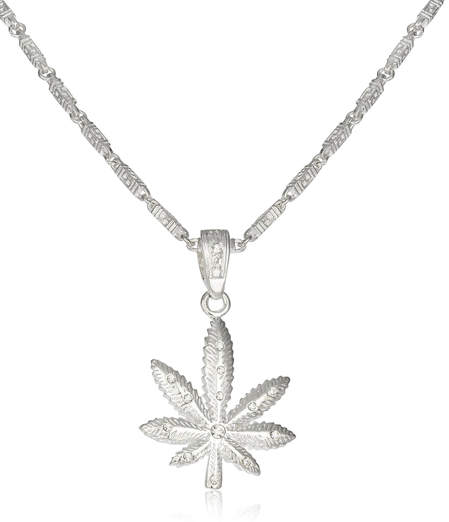 Silvertone Marijuana Leaf Pendant On Link...