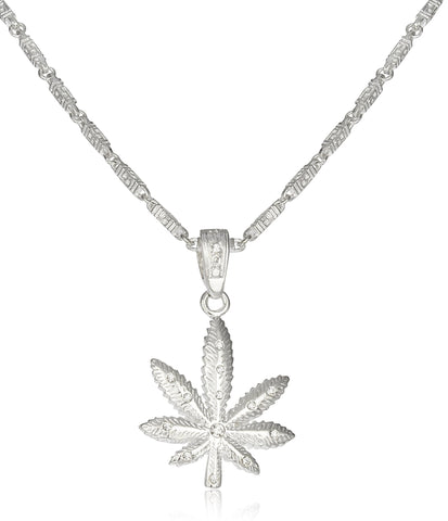 Silvertone Marijuana Leaf Pendant On Link Chain Necklace