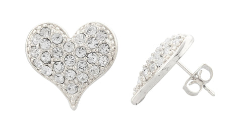 Silvertone Medium Size Iced Out 3D Heart Stud Earrings
