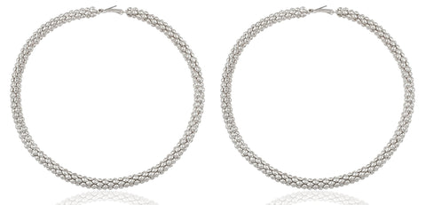 Silvertone Mesh Pattern Extra Large 4.75 Inch Hoop Earrings
