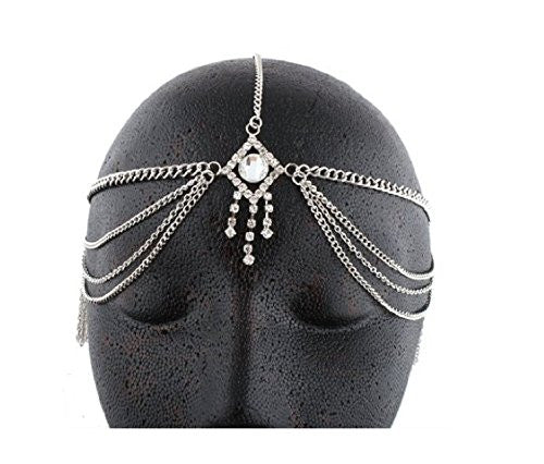 Silvertone Metal Head Chain With A Centered Iced Out Diamond And Dangling Stones