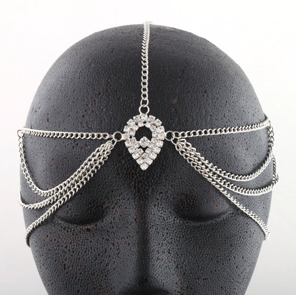 Silvertone Metal Head Chain With A Large Centered Teardrop Style