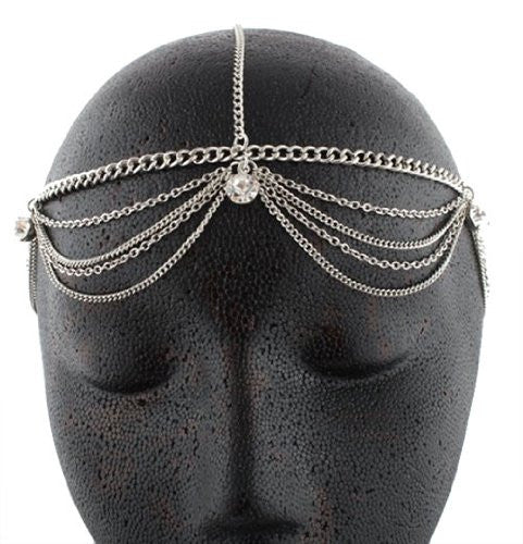 Silvertone Metal Head Chain With Studs