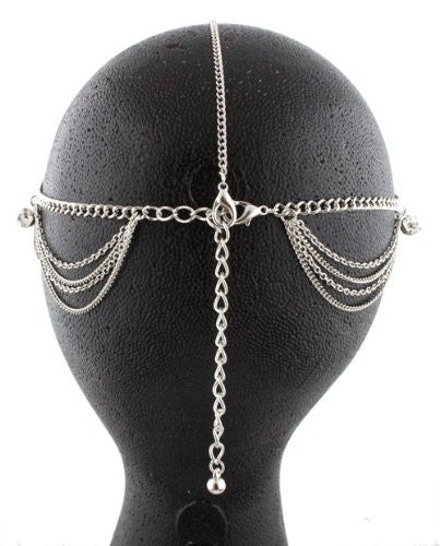Silvertone Metal Head Chain With Studs...