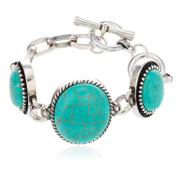 Silvertone Metallic Antique Design Bangle With Turquoise Stone Bracelet Toggle Clasp