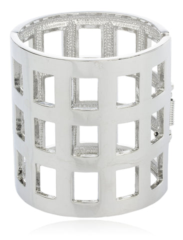 Silvertone Metallic Symmetrical Bar Design Cuff Bangle Bracelet