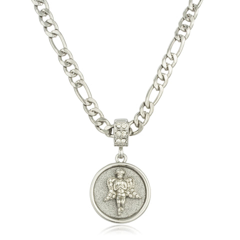 Silvertone Micro Sandblasted Angel Pendant With Stones And A 24 Inch Figaro Necklace