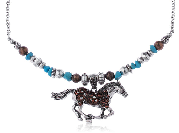 Silvertone Multi Beaded Chain With Horse Pendant Necklace
