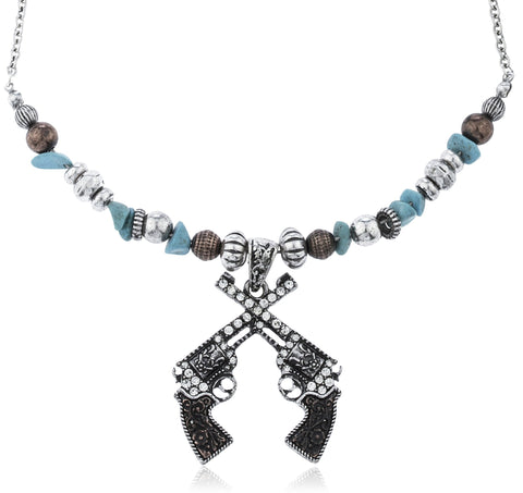 Silvertone Multi Beaded Chain With Iced Out Gun Battle Pendant Necklace