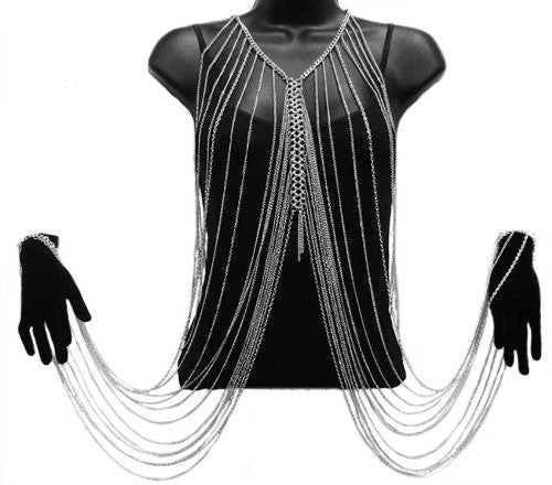 Silvertone Multilayer Tassel Body And Hands...