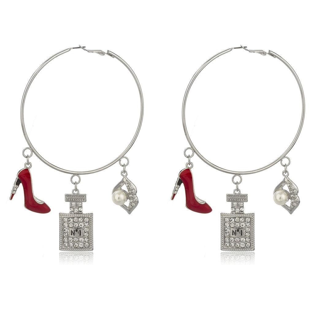 Silvertone Oversized Hoops With Red Stiletto...