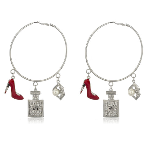 Silvertone Oversized Hoops With Red Stiletto And Assorted Lady Charms With Clear Stones