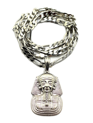 Silvertone Pharaoh Pendant With A 5mm 24 Inch Figaro Chain